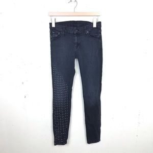 7FAM The Skinny Studded Faded Black Jeans 28